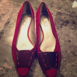 Anne Klein red suede shoes
